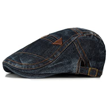 Himozoo Mens Denim Flat Cap Newsboy Ivy Irish Hats Jean Cabbie Scally Cap  Duckbill Hat ( cea5472f59c