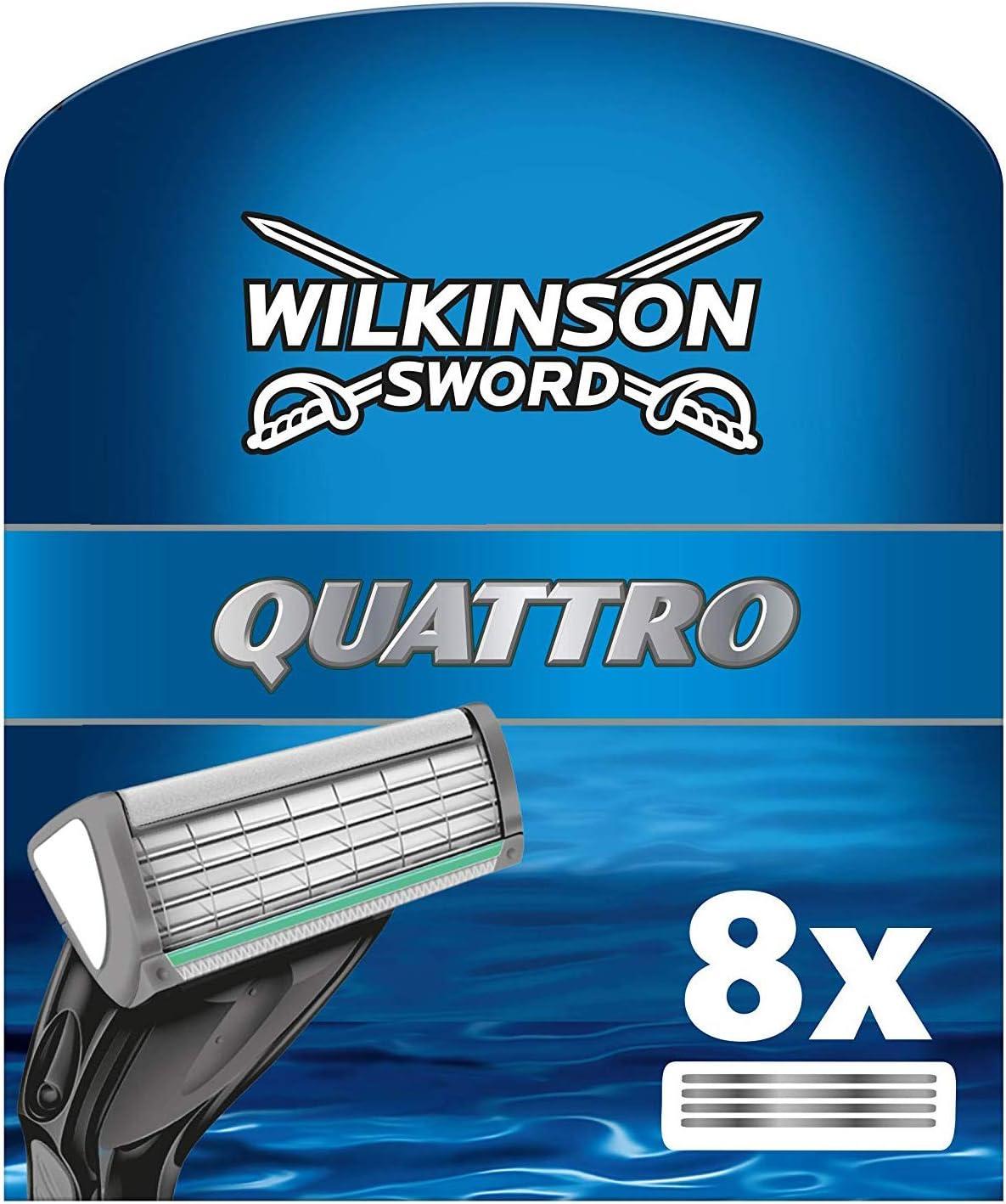 Wilkinson Sword Quattro Plus - Cargador de 8 Unidades de Recambio de Cuchillas de Afeitar para Hombre de 4 Hojas, Afeitado Manual Masculino
