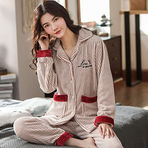 Bayrick Pijama Mujer Algodon Invierno,Conjunto de Pijama de otoño ...