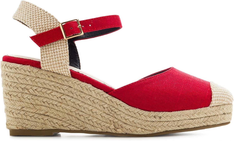 Andres Machado Chaussures compens/ées Femme d/´/ét/é AM5435 Pointures sp/éciales pour Femme du 32 au 35 et 42 au 45. Espadrilles en Tissu en Plusieurs Coloris et Semelle en Yute
