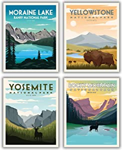 "National Parks Vintage Posters & Prints | Mountain Wall Art Decor Poster | Nature Mountain Art Decor | Moraine Lake Banff Yellowstone Yosemite Rocky Mountain National Parks Print (11""x14"" UNFRAMED)"