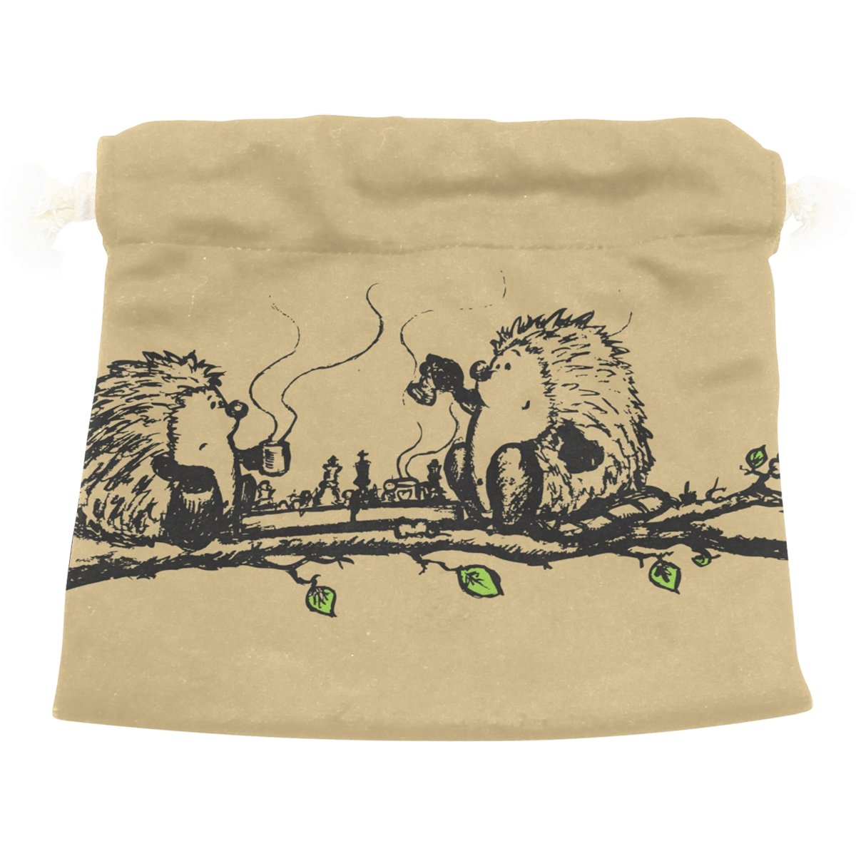Dragon Sword Hedgehogs Playing Chess Gift Bags Jewelry Drawstring Pouches for Wedding Party, 5.5x5.5 Inch