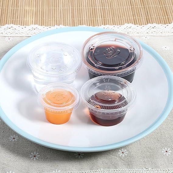 c3eef6390586 Yosoo Bulk Disposable Plastic Chutney Cups with Lids Food Container Storage  Box Leak Proof - Clear, 50Pcs(Size : 3oz)