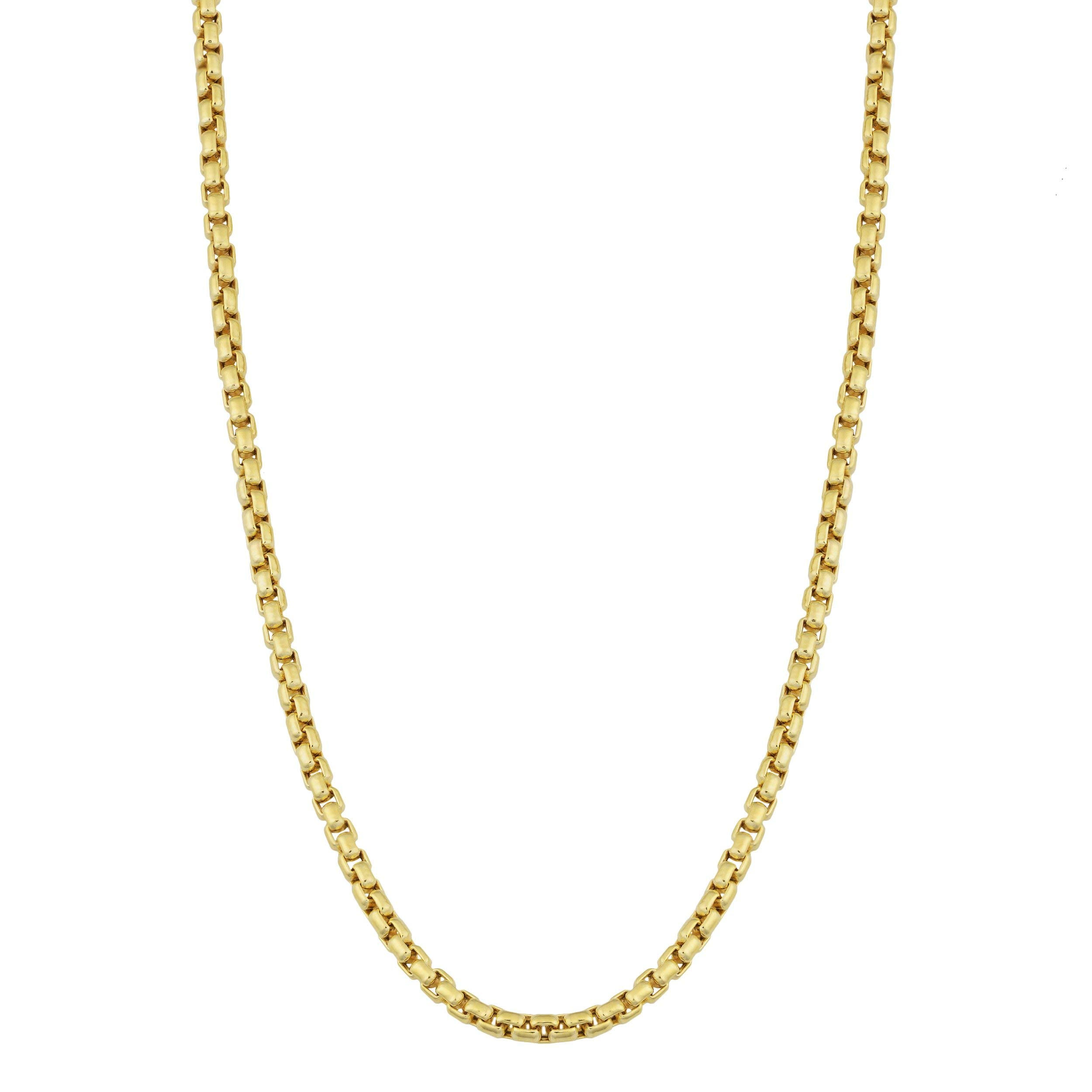 Verona Jewelers 10K Yellow Gold 2MM Round Box Chain Necklace, 10K Box Necklace, 10K Gold Necklace, 10K Gold Pendant Necklace 18-30 (30, 2MM)