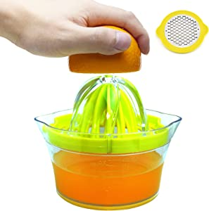 4 in 1 Lemon Orange Manual Juicer Hand Lime Squeezer,Multi-Function Citrus Fruit Juicer with Grater Egg separator and 12oz Measuring Cup,Non-Slip Hand Squeezer