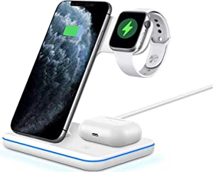 2020 Latest Wireless Charger, 3 in 1 Qi-Certified Fast Wireless Charging Station Dock for Apple iWatch Series 6/5/4/3/2/1, AirPods 2/Pro,iPhone 11 Series/XS MAX/XR/XS/X/8/8 Plus/Samsung
