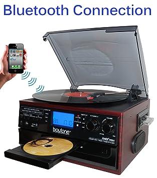 Boytone BT-22C, Tocadiscos con Bluetooth, Radio Am/FM, Cassette ...