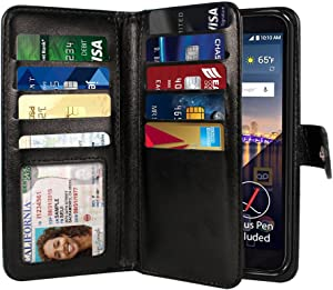 NEXTKIN LG Stylo 3 Stylus 3 Case, Leather Dual Wallet Folio TPU Cover, 2 Large Pockets Double flap Privacy, Multi Card Slots Snap Button Strap For LG Stylo 3 Stylus 3 LS777/Stylo 3 Plus - Black