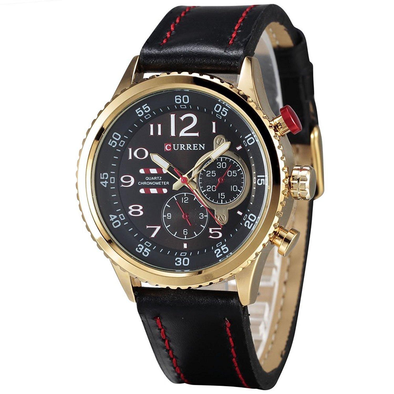CURRENファッションメンズゴールデン合金ダイヤルスポーツブラウンゴムバンドクオーツ腕時計( Fakeダイヤル) ブラック B06Y1XHLFP