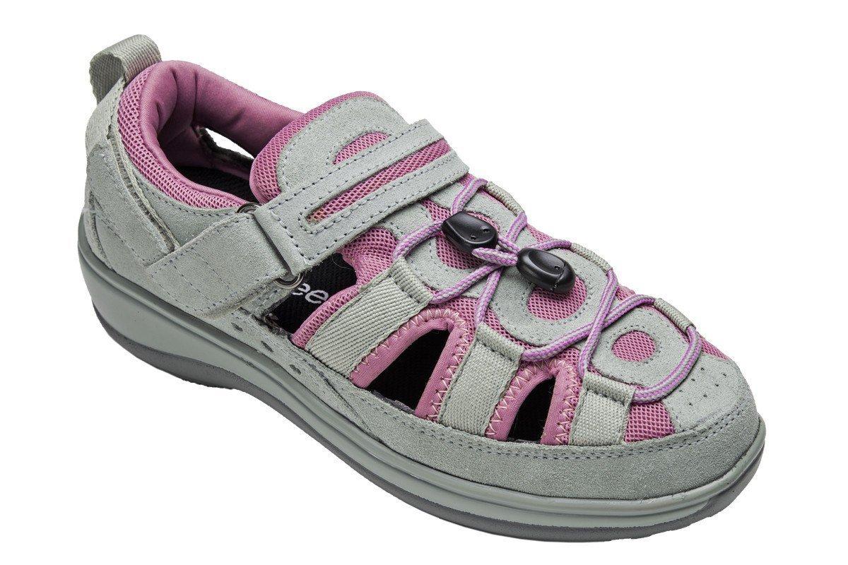 Orthofeet Naples Comfort Orthopedic Diabetic Plantar Fasciitis Womens Sandal Fisherman Gray Leather 6 W US