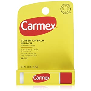 Carmex Classic Lip Balm, Lip Protectant Sunscreen SPF 15, 0.15 oz (Pack of 12)