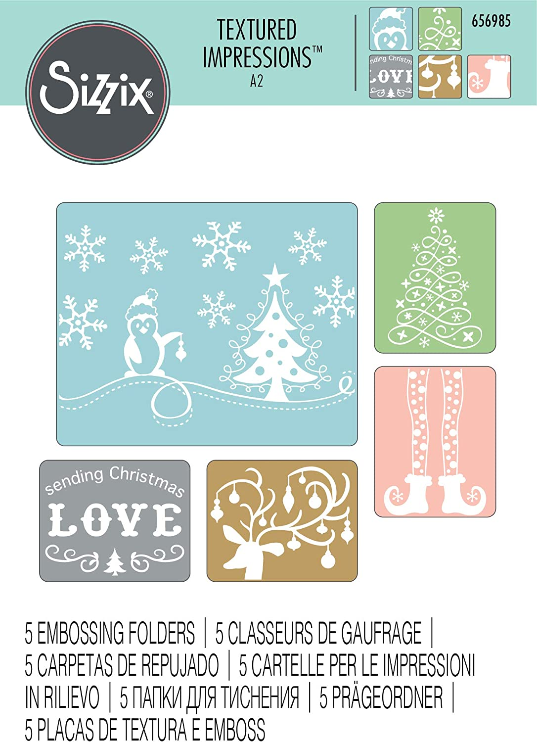 SIZZIX Textured Impressions Embossing Folders U Pick Love Backgrounds Holiday