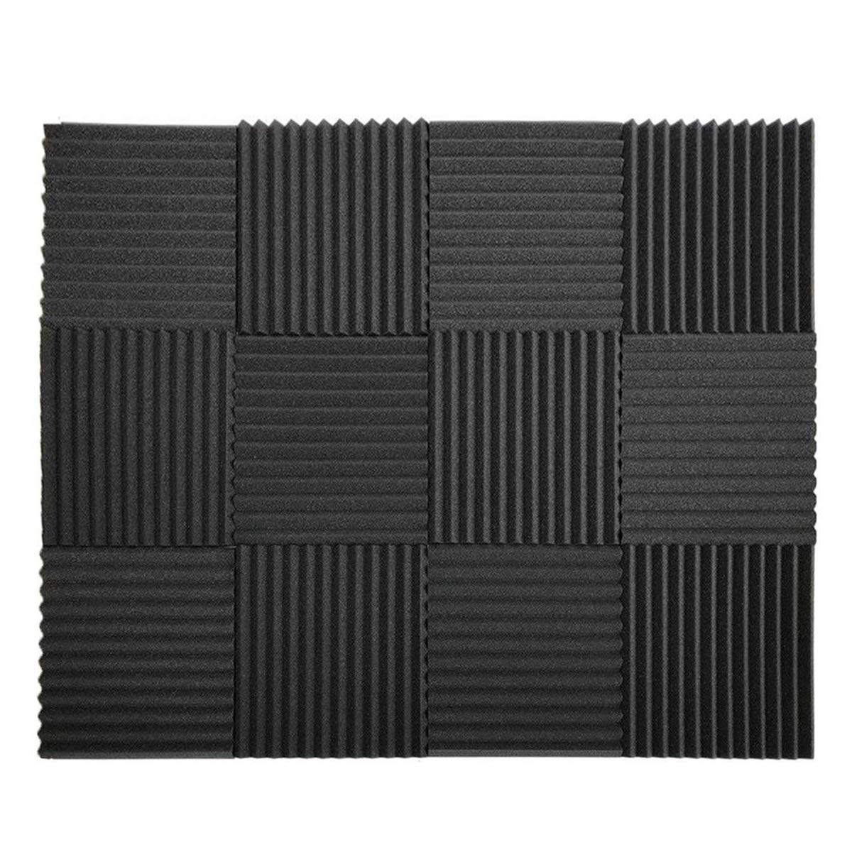 12 Pack Set Acoustic Panels, 2'' X 12'' X 12'' Acoustic Foam Panels, Studio Wedge Tiles, Sound Panels wedges Soundproof Sound Insulation Absorbing