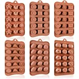 Chocolate Molds Silicone Candy Molds - 19 Shapes Silicone Molds BPA Free Nonstick Gummy Molds 6 Packs