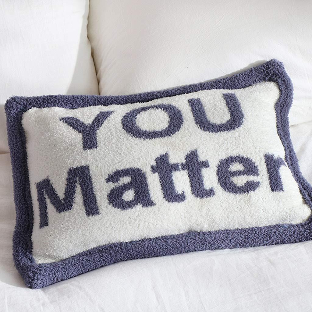 ZDNALS Rectangular Lumbar Pillow, Letter Pillow, Plush Sofa Cushion 46cm × 31cm Pillow (Color : B) by ZDNALS