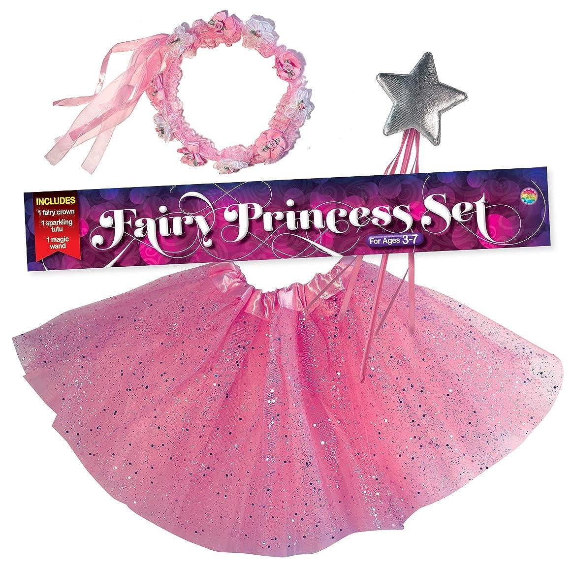 0eb0b8c65 Amazon.com: OLYPHAN Princess Tutu Dress Up Costume - Fairy Ballerina Gift: Pink  Tutu, Magic Wand, Flower Tiara/Crown for Girls: Clothing