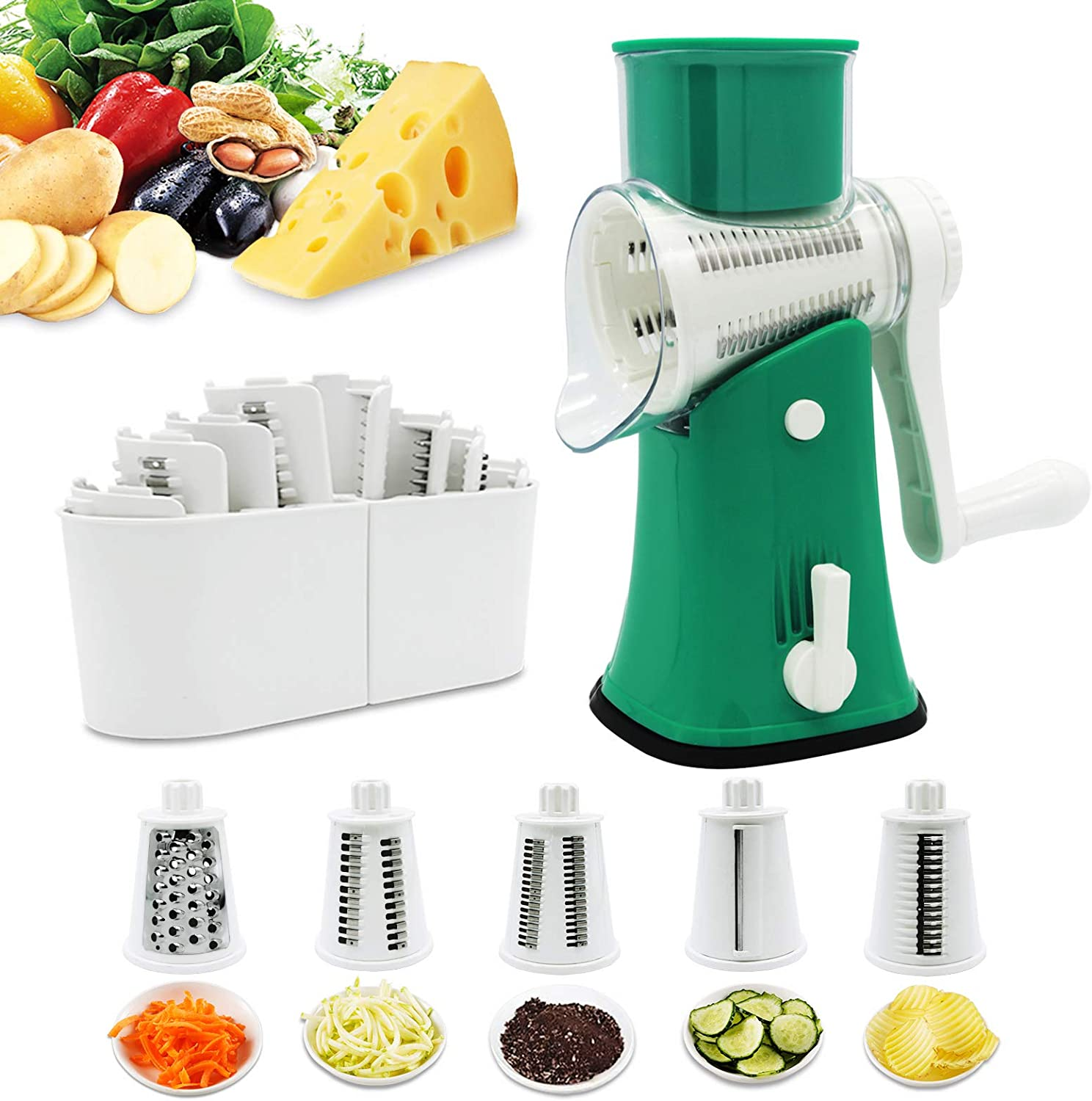Cheese Grater 5 in 1 Rotary Graters-VEKAYA Kitchen Veggie Mandoline Slicer and Potato Slicer with  Hand-held, Julienne Shredder and Waffle Slicers for Fruits Vegetables Nuts French Fries green