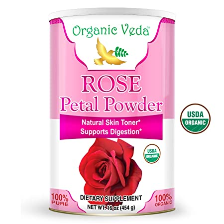 Organic Rose Petal Powder 16 Ounce – 1 Lb. USDA Certified Organic 100 Pure and Natural Herbs Raw Organic Super Food Supplement. Non GMO. Gluten Free. US FDA Registered Facility. All Natural