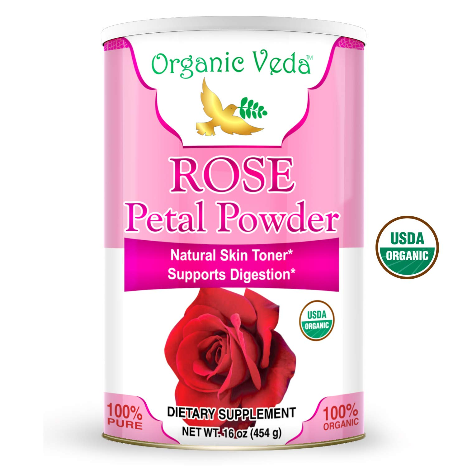 Organic Rose Petal Powder 16 Ounce - 1 Lb. ★ USDA Certified Organic ★ 100% Pure and Natural Herbs Raw Organic Super Food Supplement. Non GMO. Gluten Free. US FDA Registered Facility. All Natural!
