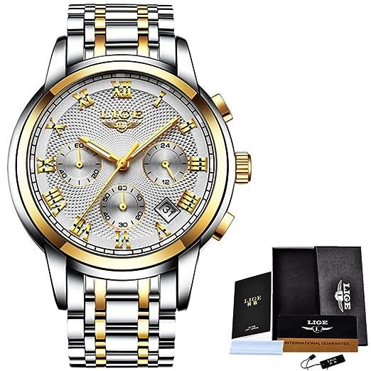 Reloj los hombres moda reloj cuarzo lujo para hombre Relojes lujo acero completo reloj pulsera oro resistente al agua Relogio masculino, día los padres oro ...