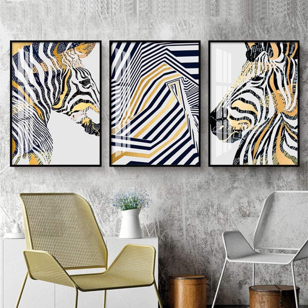 WTYBGDAN Estilo Moderno Abstracto lámina de Oro Caballo Cebra Animales Lienzo Pintura Carteles e Impresiones Cuadros de Pared para decoración de Sala de Estar | 50x70cmx3Pcs / sin Marco