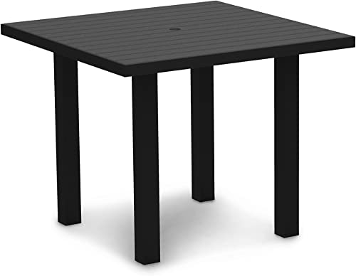 POLYWOOD AT36FABGY Euro 36 Square Dining Table, Textured Black Slate Grey