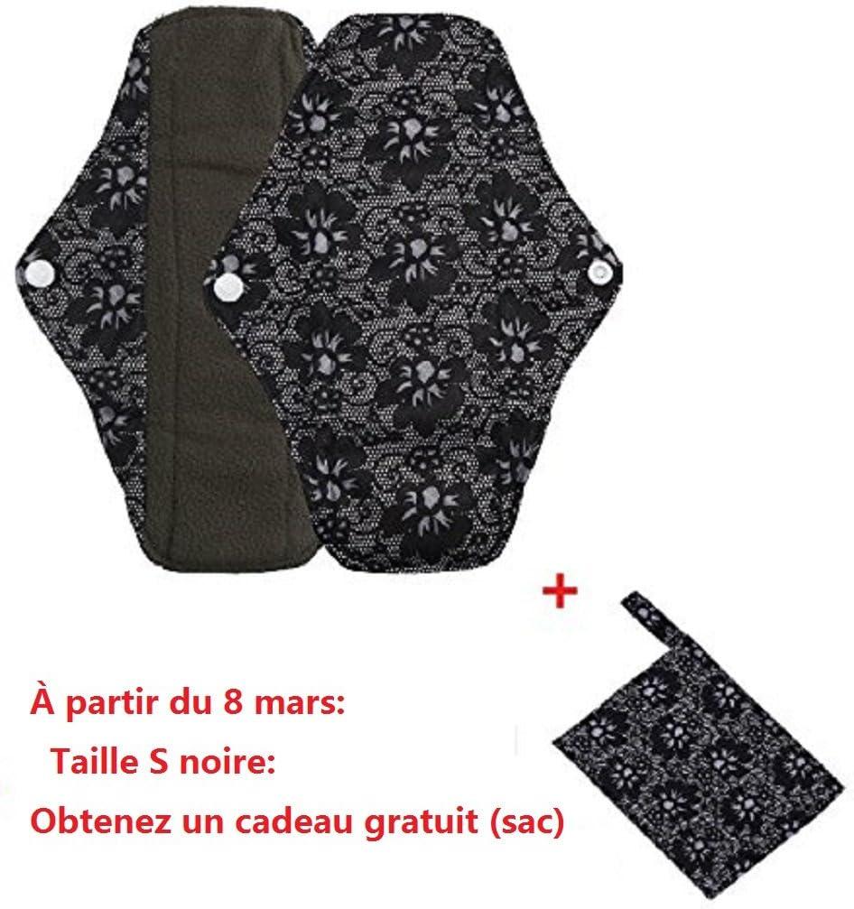 s, Noir Serviettes hygi/èniques lavables Covermason Bambou r/éutilisables lingette lavable menstruel serviette hygi/énique de Pad Mama