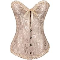 Elonglin Vintage Corset Top Classic Overbust Bustier Waist Taming Cinchers Lace Up Burlesque Plus Size with G-String