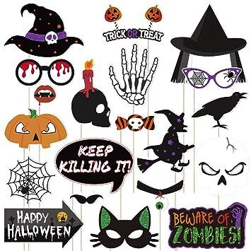 Amosfun 20pcs Halloween Props Photo Booth Kit Happy