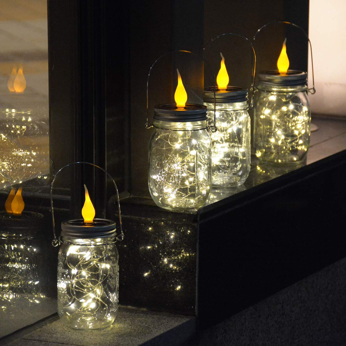 LAMPDREAM Solar Mason 4 Pack Jar Lights and Candle Lights with Hanger