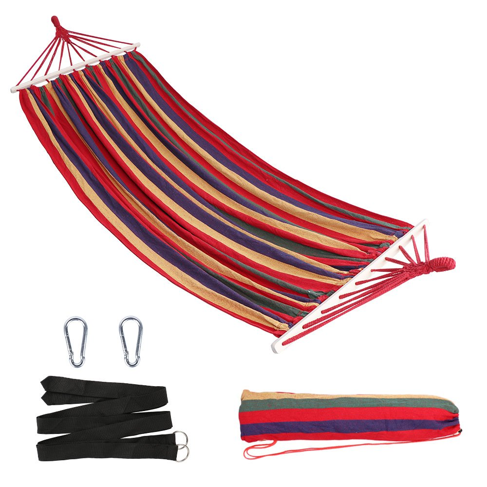 Anyoo Outdoor Cotton Hammock Multiples 200 x 150 cm, Load Capacity up to 200 kg Portable with Carrying Bag for Patio Yard Garden