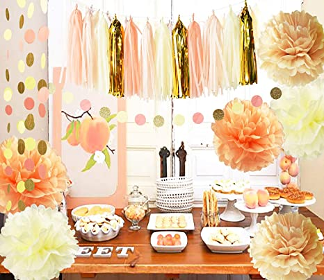 Rusticvintage Baby Shower Decorations Birthday Decor Sweet As A Peach Baby Shower Decor Cream Peach Champagne Tissue Paper Pom Pom Girl Bridal Shower