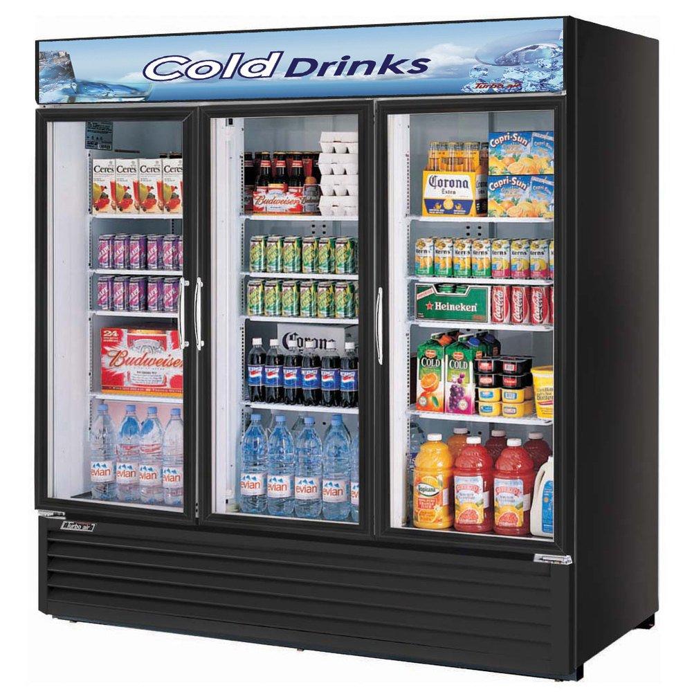 Turbo Air TGM-72RSB Glass Swing Door Three Section Merchandiser Refrigerator