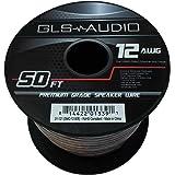 GLS Audio Premium 12 Gauge 50 Feet Speaker Wire - True 12AWG Speaker Cable 50ft Clear Jacket 50' Spool Roll 12G 12/2 Bulk