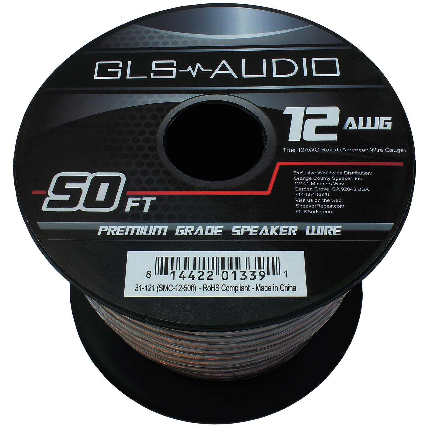 Gls Audio Premium 12 Gauge 50 Feet Speaker Wire True Subwoofer Wiring On Bi Amplifier And Home Cinema 12awg Cable 50ft Clear Jacket High Quality Spool Roll 12g 2 Bulk