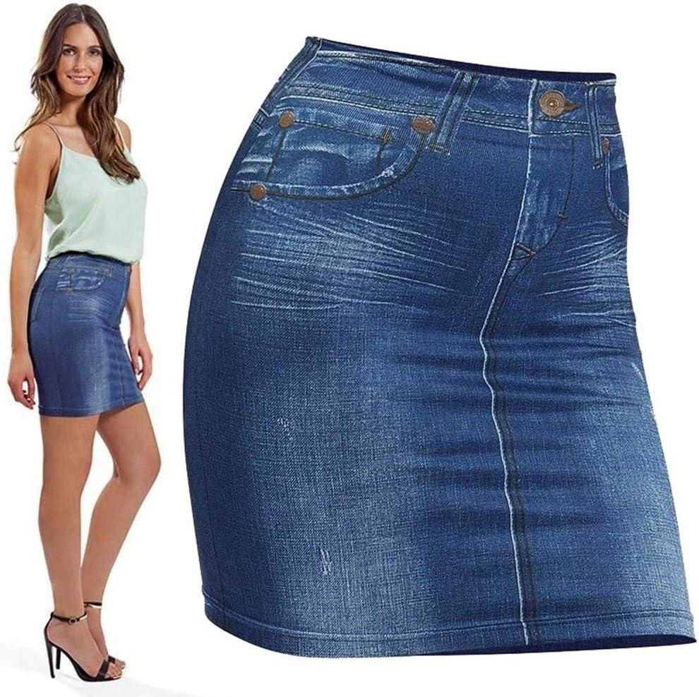 Gonna Elasticizzata Slim Skirt Effetto Jeans Modellante Dimagrante Tag Unica TrAdE Shop Traesio