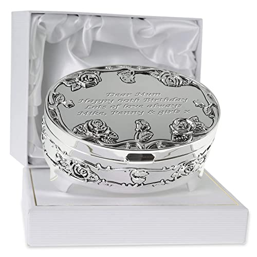 De Walden Girls 60th Birthday Gift Engraved Silver Plated Rose Trinket Box In A Presentation