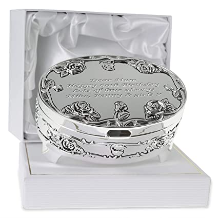 De Walden Girls 60th Birthday Gift Engraved Silver Plated Rose Trinket Box In A Presentation For Sixtieth 60 Amazoncouk