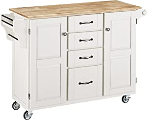 Create-a-cart White 2 Door Kitchen Cart with Natural Wood Top by Home Styles