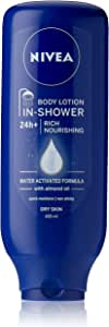 NIVEA In-Shower Rich Moisturising Body Lotion Water Activated Formula with Almond Oil for Dry Skin 400ml