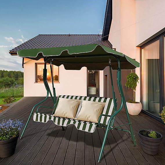 costway columpio balancín columpio balancín Tumbona de jardín banco de jardín con toldo de 3 plazas, verde: Amazon.es: Jardín