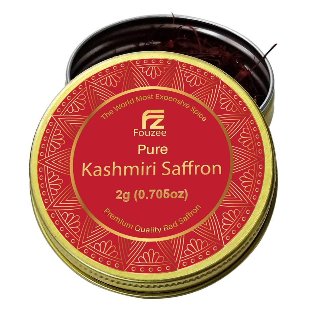 Fouzee Pure Kashmiri Saffron Threads 0.0705oz 2g – Finest 100% All-Red Saffron Spice For Cooking, Paella Rice, Golden Milk, Persian Rice, Tea