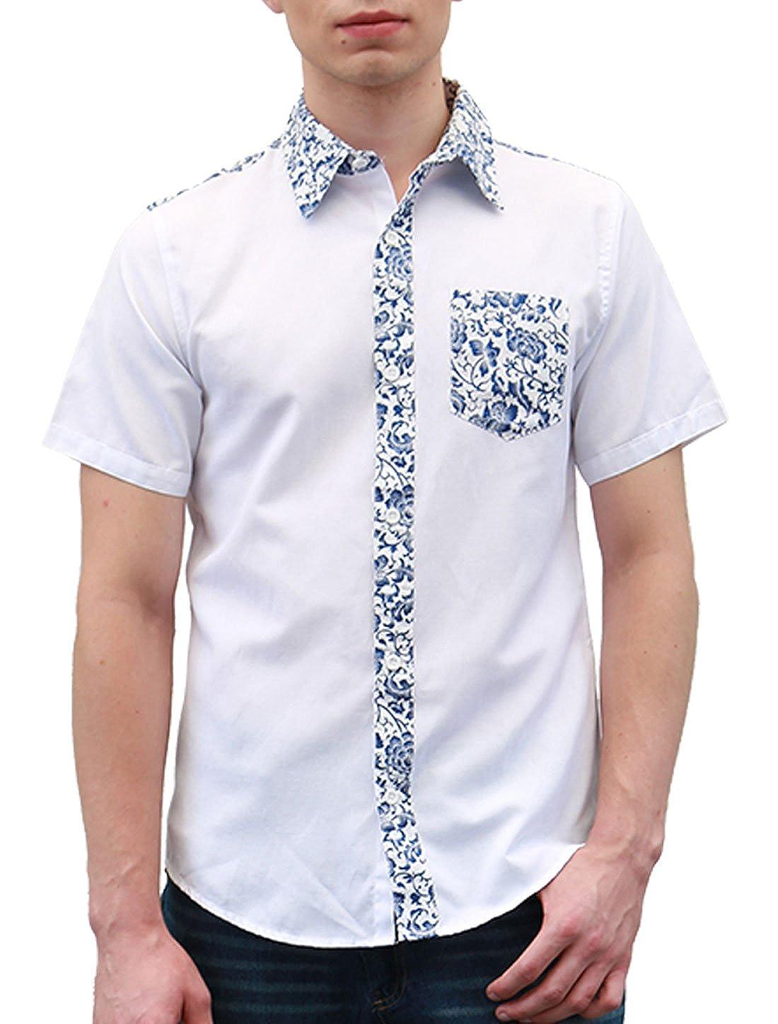 e7c47999 uxcell Men Summer Floral Print Pocket Short Sleeve Button Down Hawaiian  Shirt at Amazon Men's Clothing store: