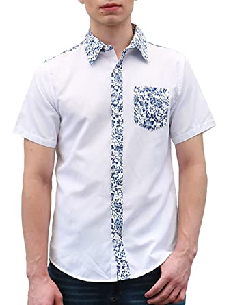45631380 uxcell Men Short Sleeve Floral Prints Single Breasted Pocket Shirt S Blue  White