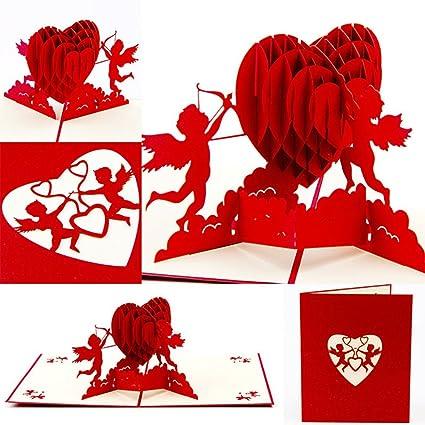 Amazon lbgrandspec cupid heart pop up greeting card valentine lbgrandspec cupid heart pop up greeting card valentine anniversary birthday christmas gift creative invitation card birthday m4hsunfo