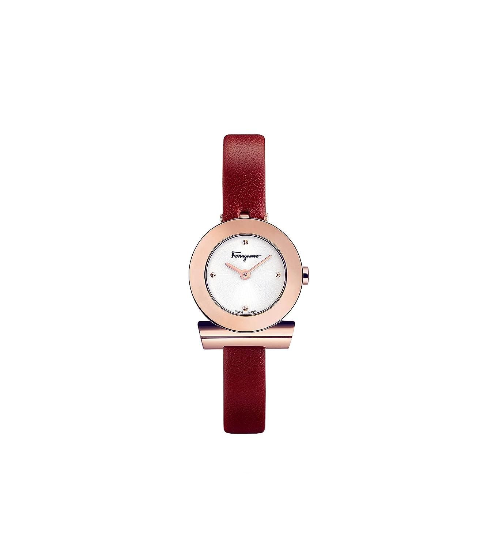 CDM product Salvatore Ferragamo Women's Gancino 2 H Quartz F43020017 Silver Dial Red Leather Strap Watch big image