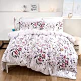 Floral Duvet Cover Set Queen Reversible Pink Botanical Green Leaves Pattern Printed Bedding Duvet Cover with Zipper…