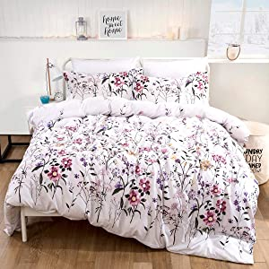 Floral Duvet Cover Set Queen Reversible Pink Botanical and Green Leaves Pattern Printed Bedding Duvet Cover with Zipper Closure Ties, 3 Pieces (1 Duvet Cover + 2 Pillowcases), Ultra Soft Microfiber