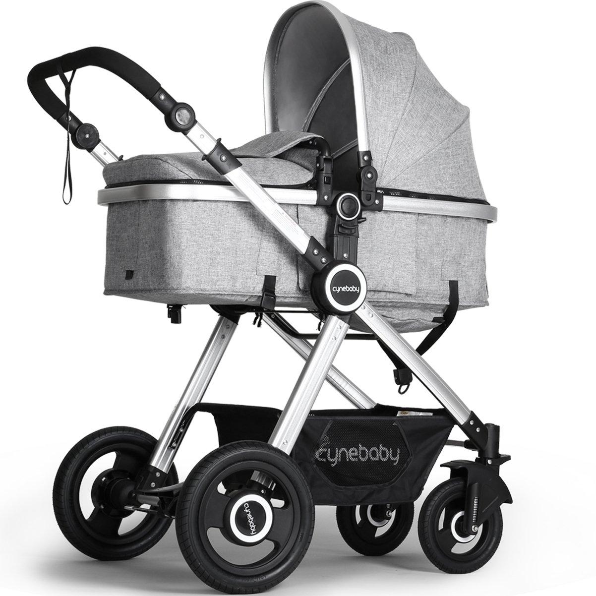 Newborn Baby Stroller Pram Stroller Folding Convertible Carriage Luxury Bassinet Seat Infant Pushchair with Foot Muff(Grey)