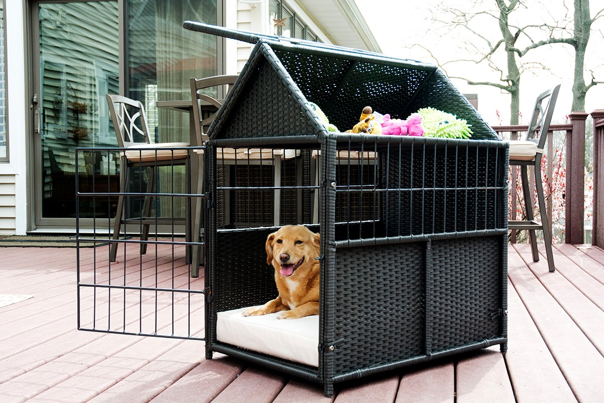 Iconic Pet - rattan Pet Crate with Storage, Brown/Sand by Iconic Pet (Image #3)